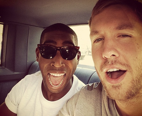 Calvin Harris and Tinie Tempah pulling a face