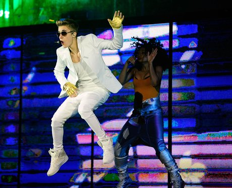 Justin Bieber grabbing his crotch on stage