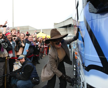 Lady Gaga outside of her Born Brave Tour bus