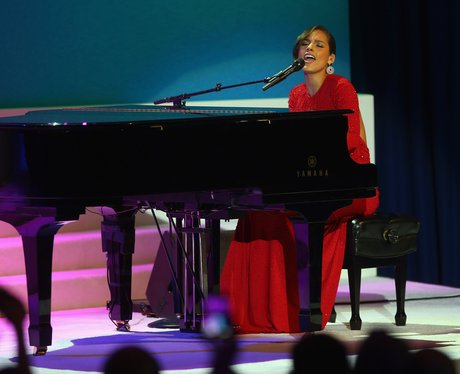 Alicia Keys performs during the Public Inauguration Ceremony