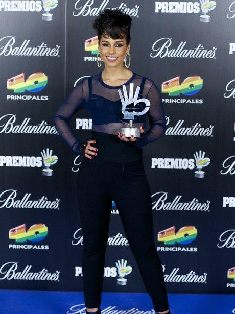 Alicia Keys poses in the press room