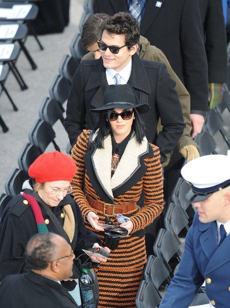 Katy Perry and John Mayer arrive at the Inauguration ceremony in WAshington