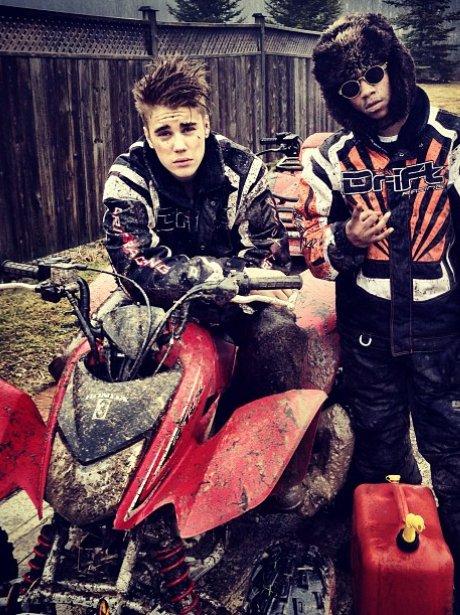 Justin Bieber on a quad bike