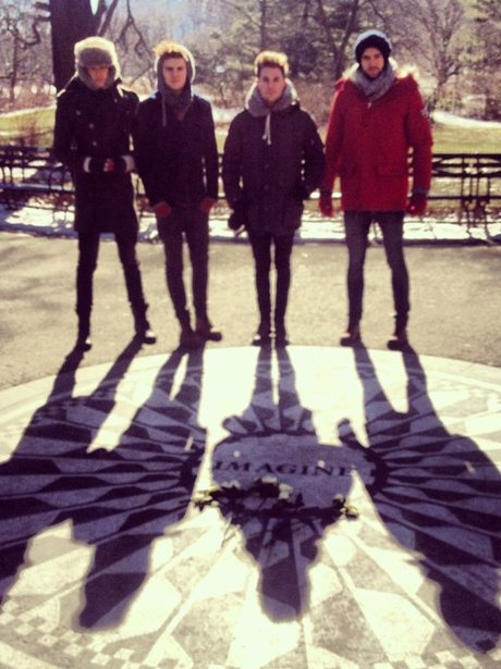 Lawson at the John Lennon memorial in Times Square
