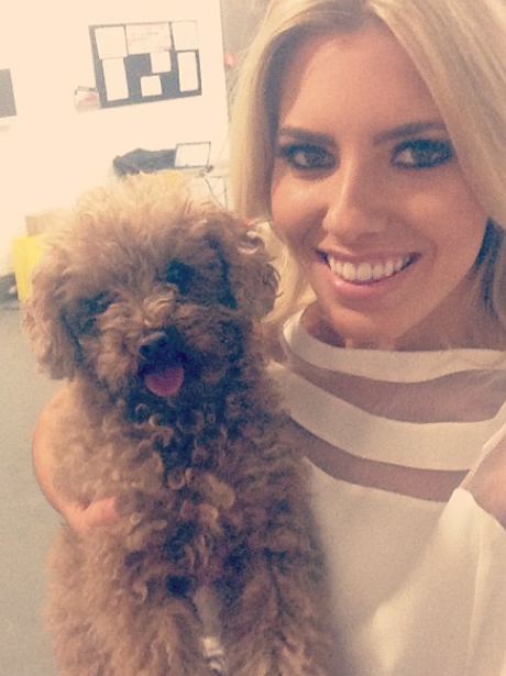 Mollie King with her pet dog