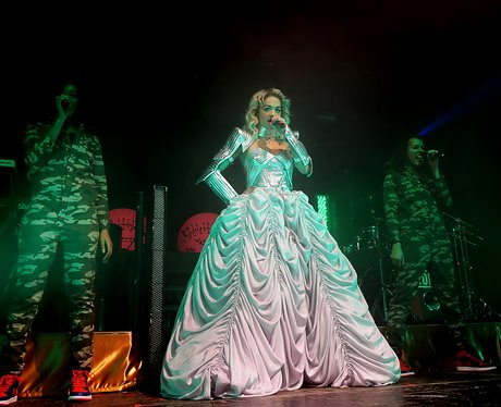 Rita Ora singing on stage at Manchester Academy