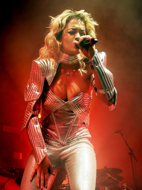 Rita Ora on stage at the Manchester Academy
