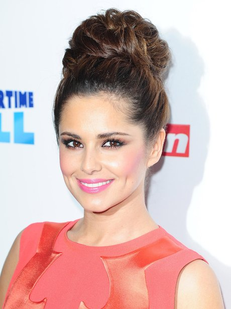 Cheryl Cole wearing a top knot