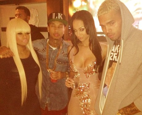 Tyga hangs out with Chris Brown and Nicki MInaj