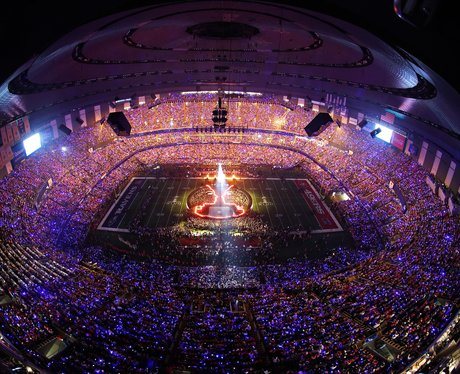The New Orleans Superdome at night for Super Bowl 2013 event