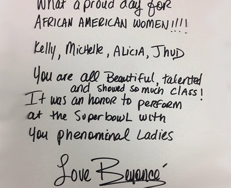 Beyonce Super Bowl Letter 2013