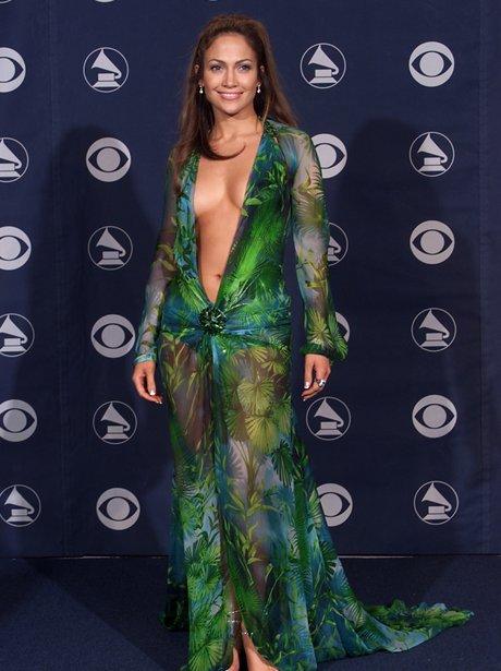 Jennifer Lopez wearing mermaid dress at Grammy Awards