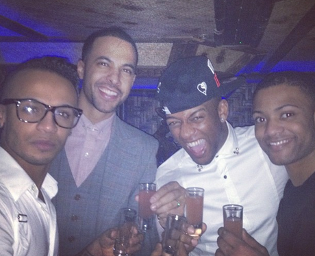 The JLS boys celebrate a night out together in London