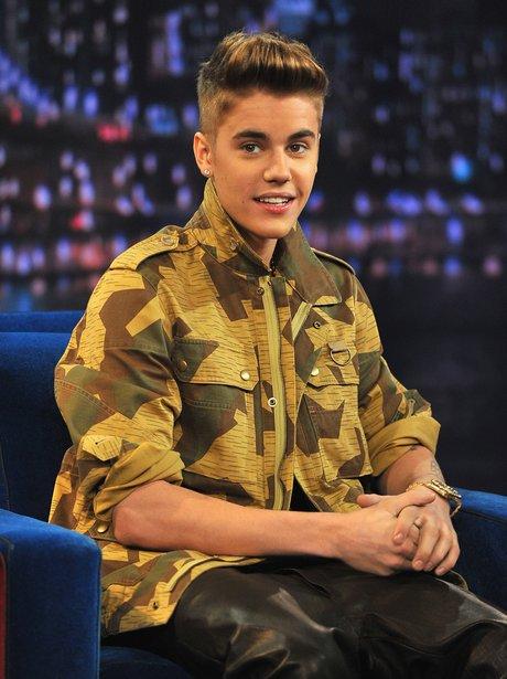 Justin Bieber wearing a camo shirt