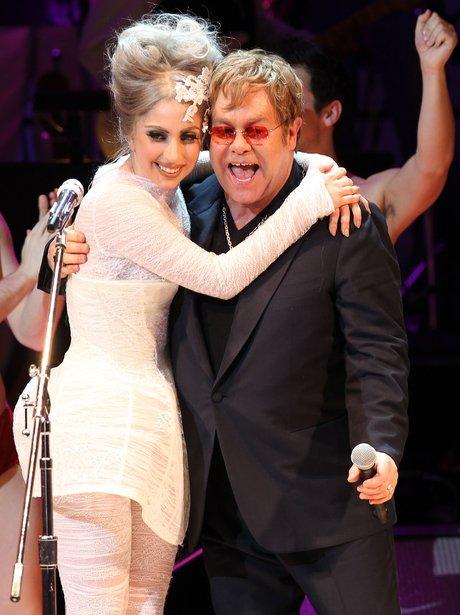 Lady Gaga and Elton John hugging