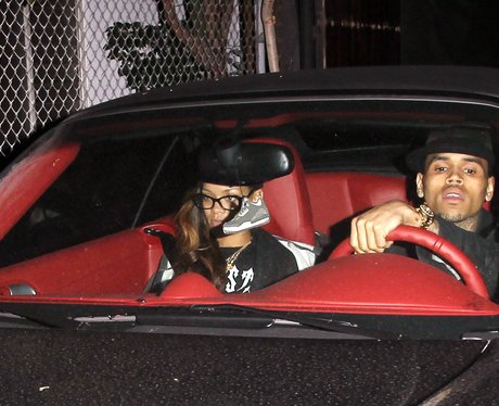 Rihanna and Chris Brown leave a recording studio together