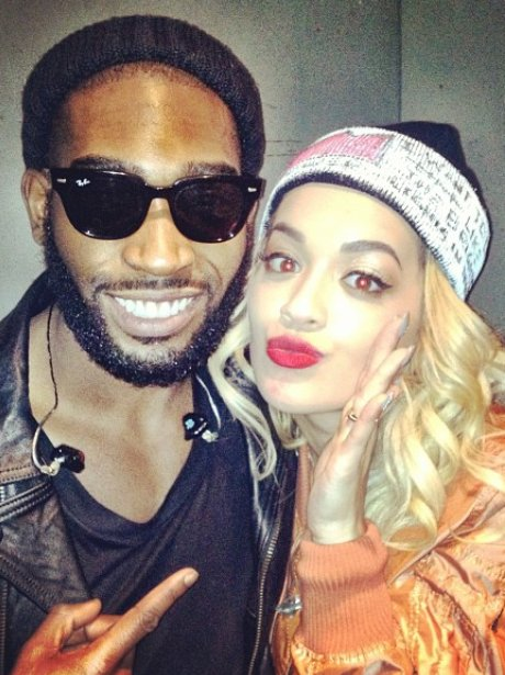 Rita Ora and Tinie Tempah backstage at a gig
