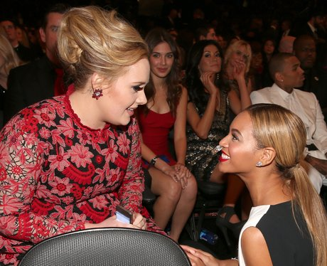 Adele and Beyonce at the 2013 Grammy Awards