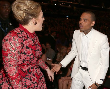 Adele and Chris Brown at Grammys 2013 talking
