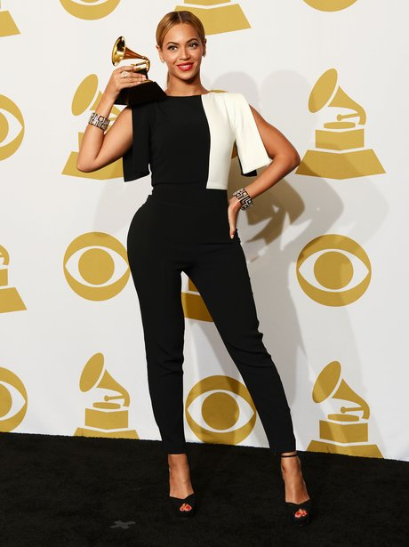 Beyonce wearing black jumpsuit at the 2013 Grammy Awards