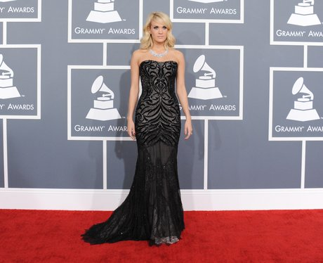 Carrie Underwood wearing a black dress
