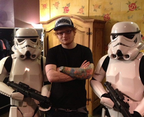 Ed Sheeran with stormtrooper actors