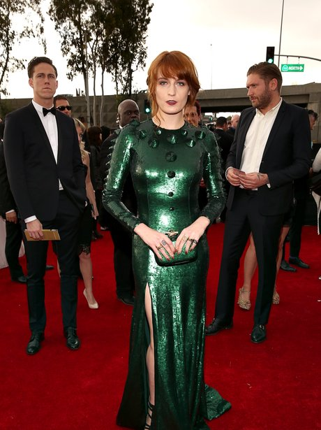 Florence & The Machine wearing a green dress at Grammy Awards