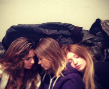 Girls Aloud napping while rehearsing on tour