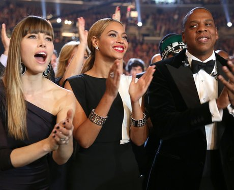 Jessica Biel, Beyonce and Jay-Z at the 2013 Grammy