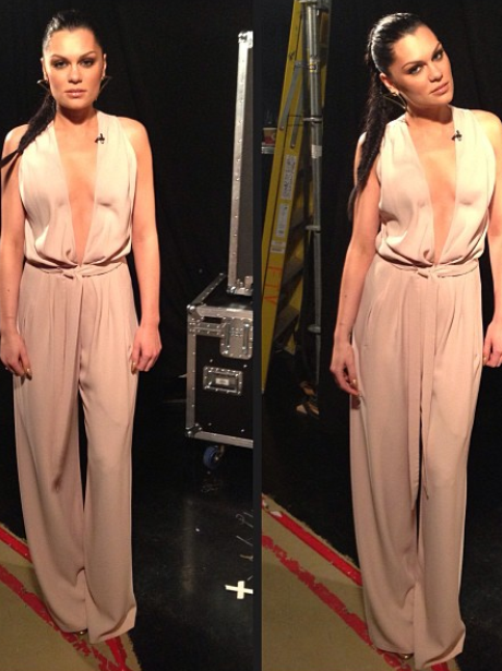 Jessie J wearing a low cut jumpsuit
