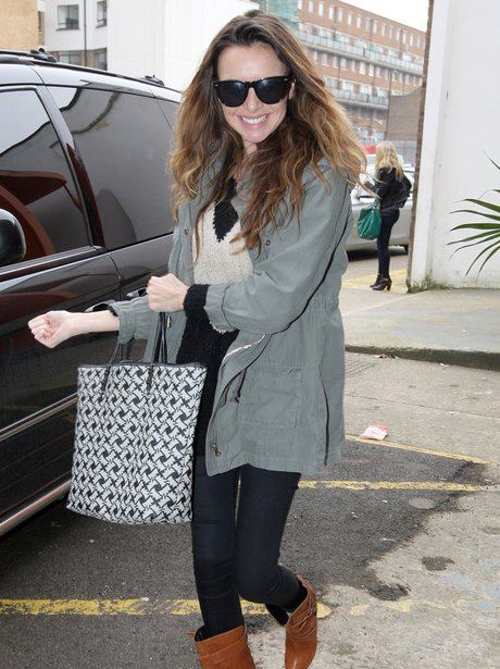 Girls Aloud arrive at the studio ahead of tour launch