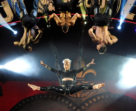 P!nk performs acrobatics during 'The Truth About Love' tour
