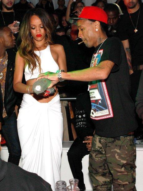 Rihanna enjoys an afterparty for the Grammy Awards 2013