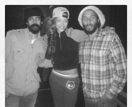 Rihanna backstage with Bob Marley's sons