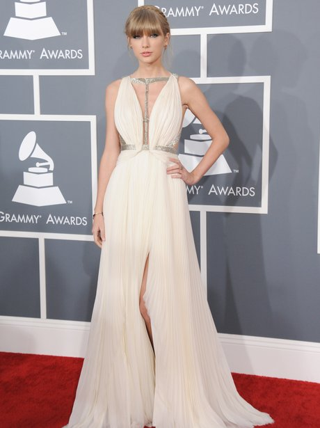 Taylor Swift wearing Grecian gown at the Grammy Awards