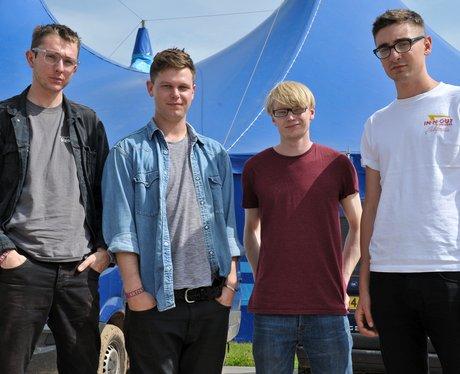 Alt-J backstage at a UK festival