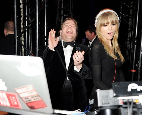 James Corden and Taylor Swift at a BRITs 2013 after party
