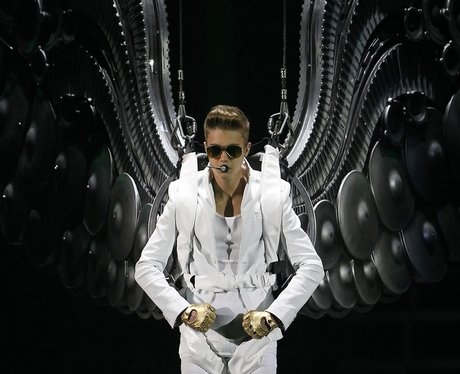 Justin Bieber descends from the rafters in Manchester