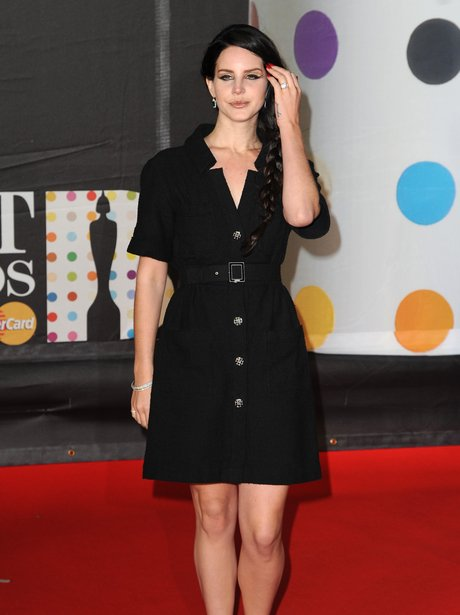 Lana Del Ray in black dress at the BRIT Awards 2013