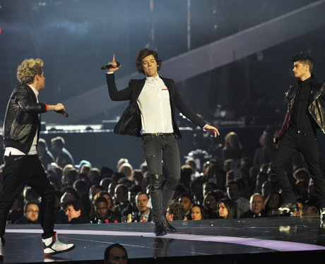One Direction live on stage at the BRIT Awards 201