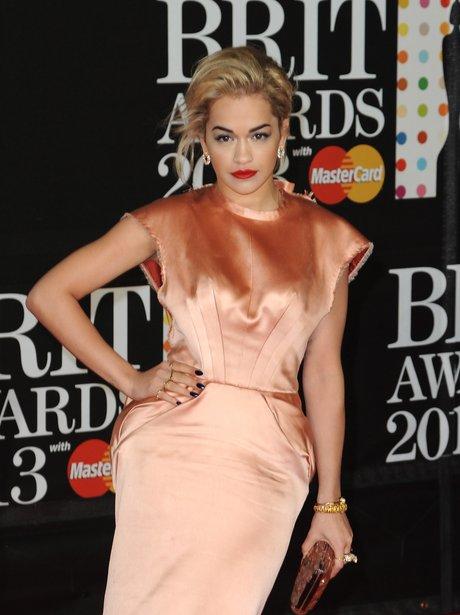 Rita Ora attends the Brit Awards 2013