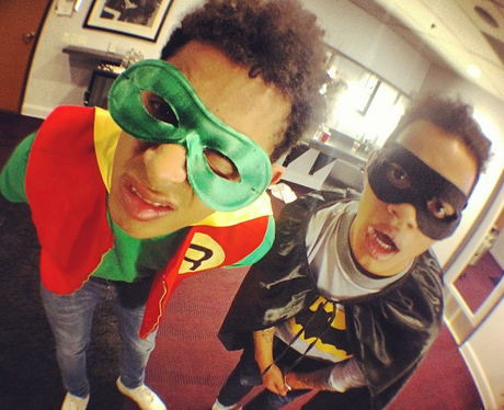 Rizzle Kicks dressed as Batman and Robin