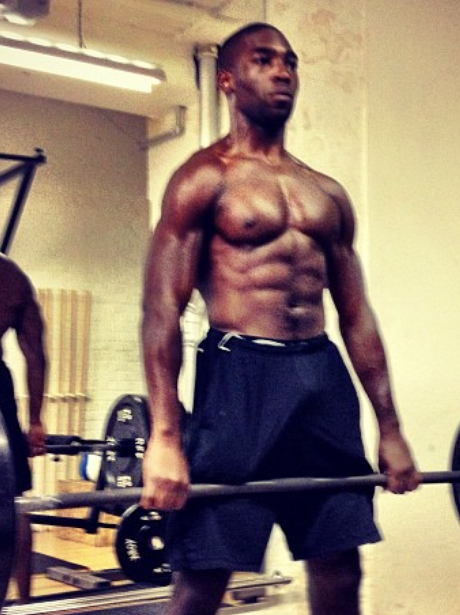 Tinie Tempah works out in the gym
