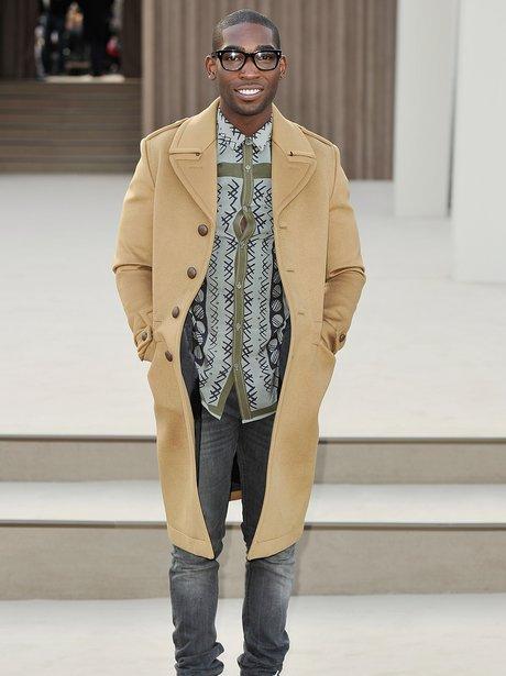 Tinie Tempah wearing Burberry at London Fashion Week 2013