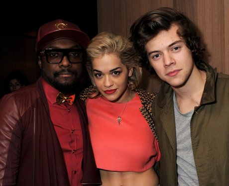 Will.i.am, Rita Ora and Harry Styles smiling together