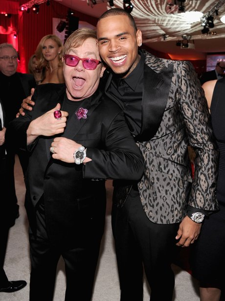 Chris Brown and Elton John at a post-Oscars 2013 party
