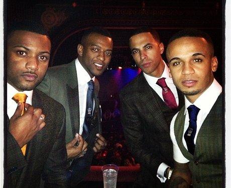 JLS wearing suits at Justin Timberlake's gig