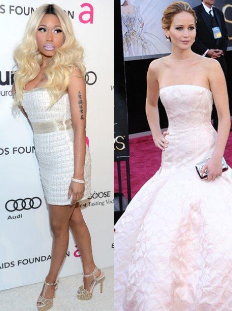 Nicki Minaj and Jennifer Lawrence at the Oscars 2013