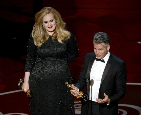 Paul Epworth and Adele on stage at the Oscars 2013