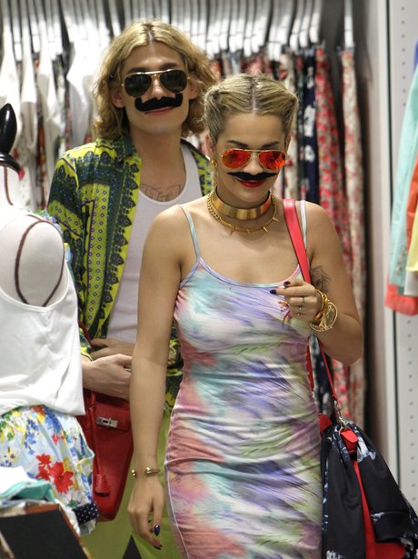 Rita Ora wearing a moustache on Sydney
